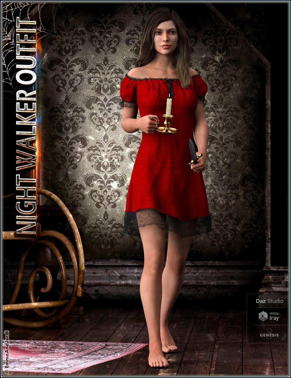 dForce Night Walker Outfit, Props and Poses For Genesis 8 Female(s) by: EmmaAndJordi, 3D Models by Daz 3D