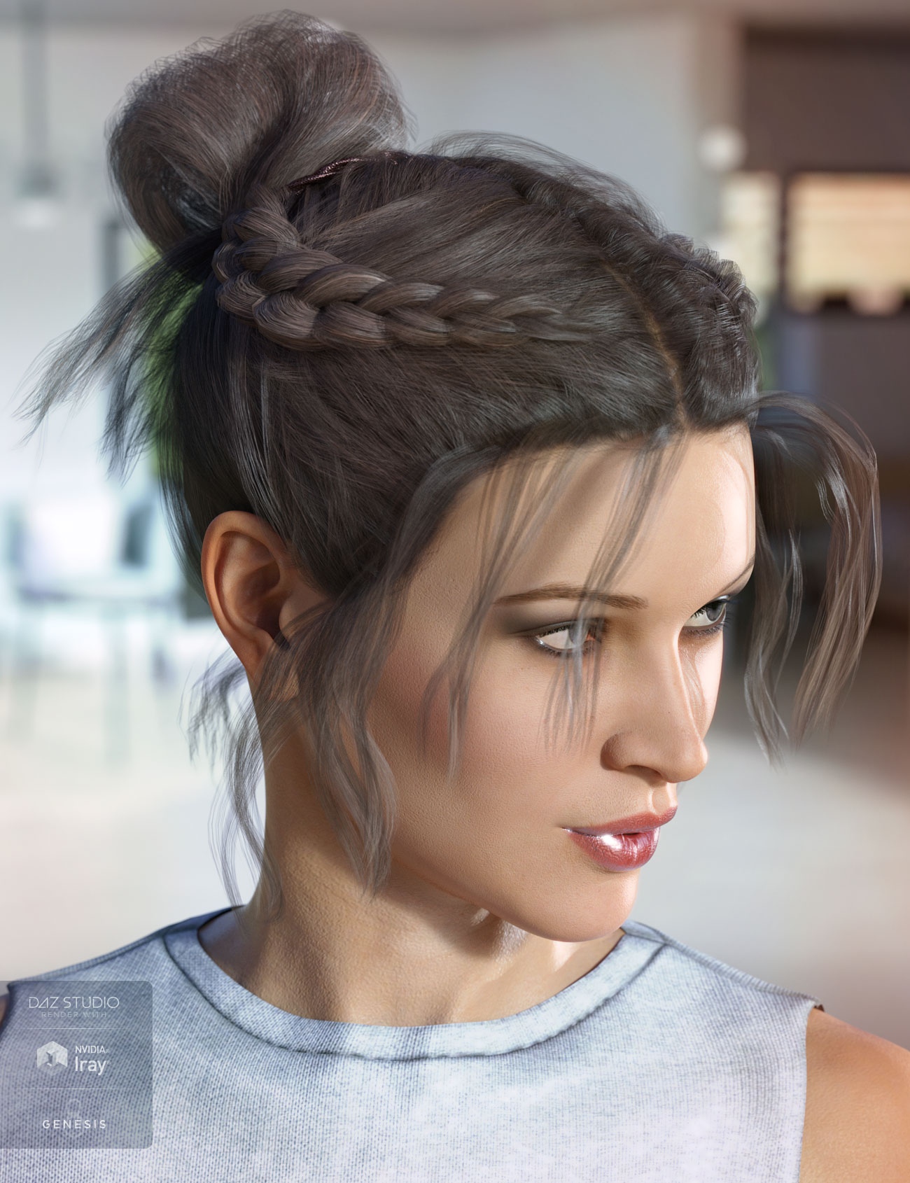 Layla Hair for Genesis 3 & 8 Female(s) by: AprilYSH, 3D Models by Daz 3D