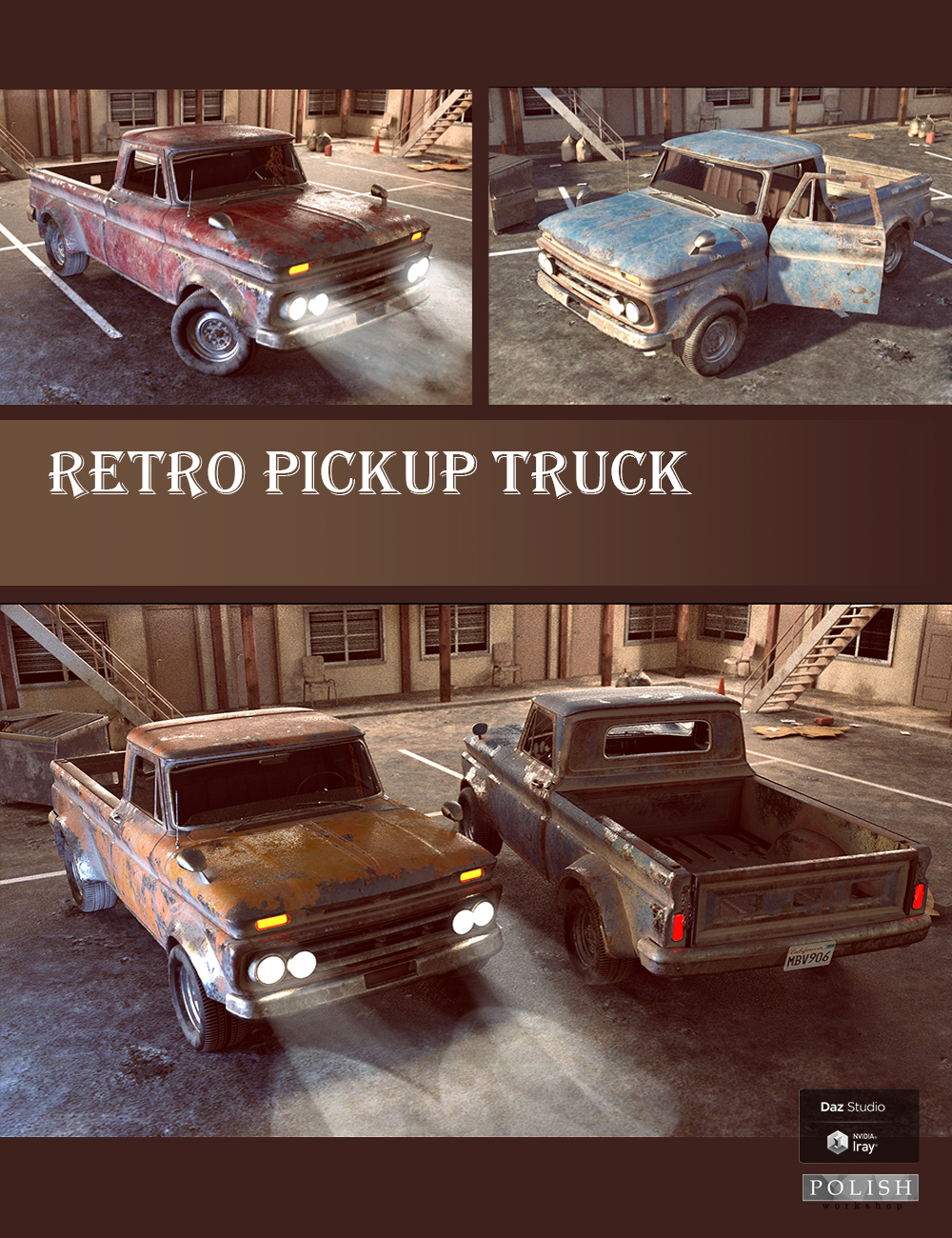 Retro Pickup Truck by: Polish, 3D Models by Daz 3D