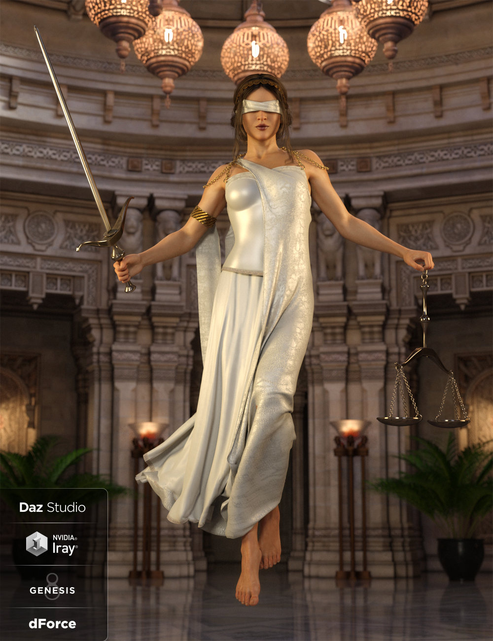 dForce Lady Justice Outfit for Genesis 8 Female(s) by: Anna BenjaminBarbara BrundonUmblefugly, 3D Models by Daz 3D