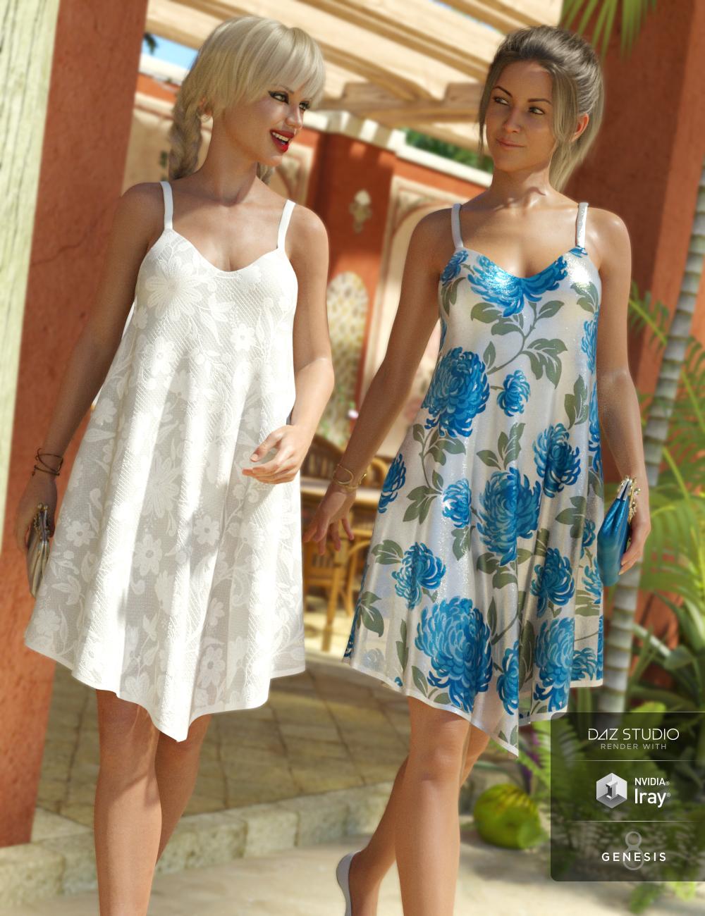 Florals for Chiffon Slip Dress by: Sarsa, 3D Models by Daz 3D