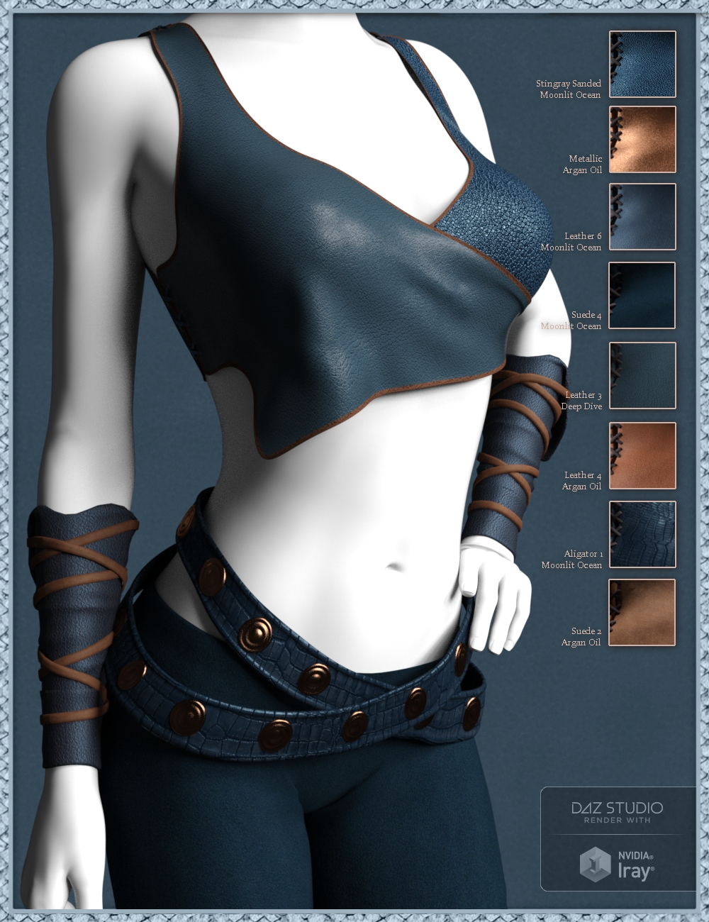 Exotic Leather Shader Presets 1 for Iray by: Handspan Studios, 3D Models by Daz 3D