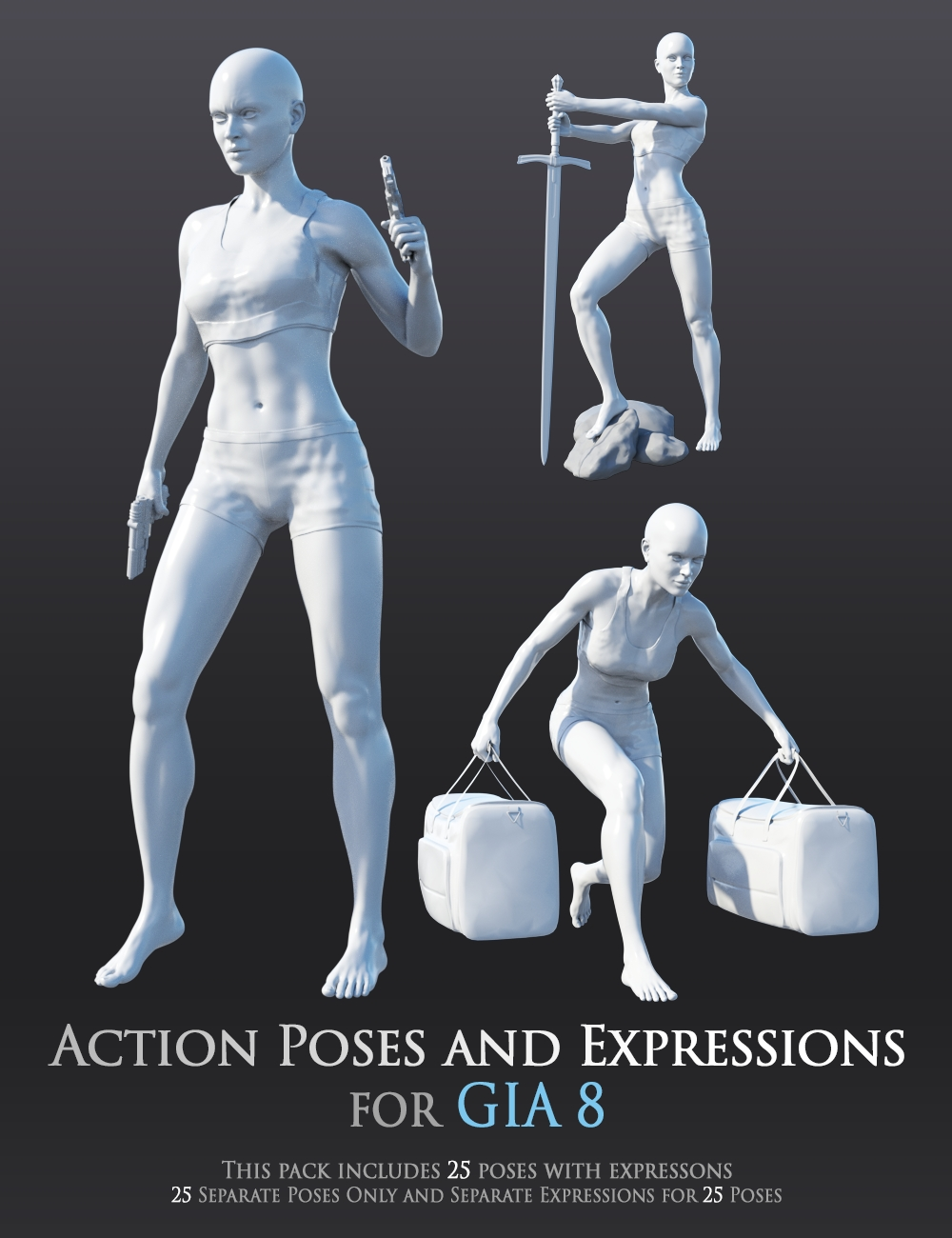 Action Poses and Expressions for Gia 8 by: Andrey Pestryakov, 3D Models by Daz 3D