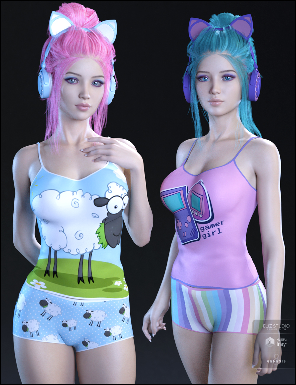 Kawaii Textures for Gamer Girl PJs and Accessories by: Jessaii, 3D Models by Daz 3D