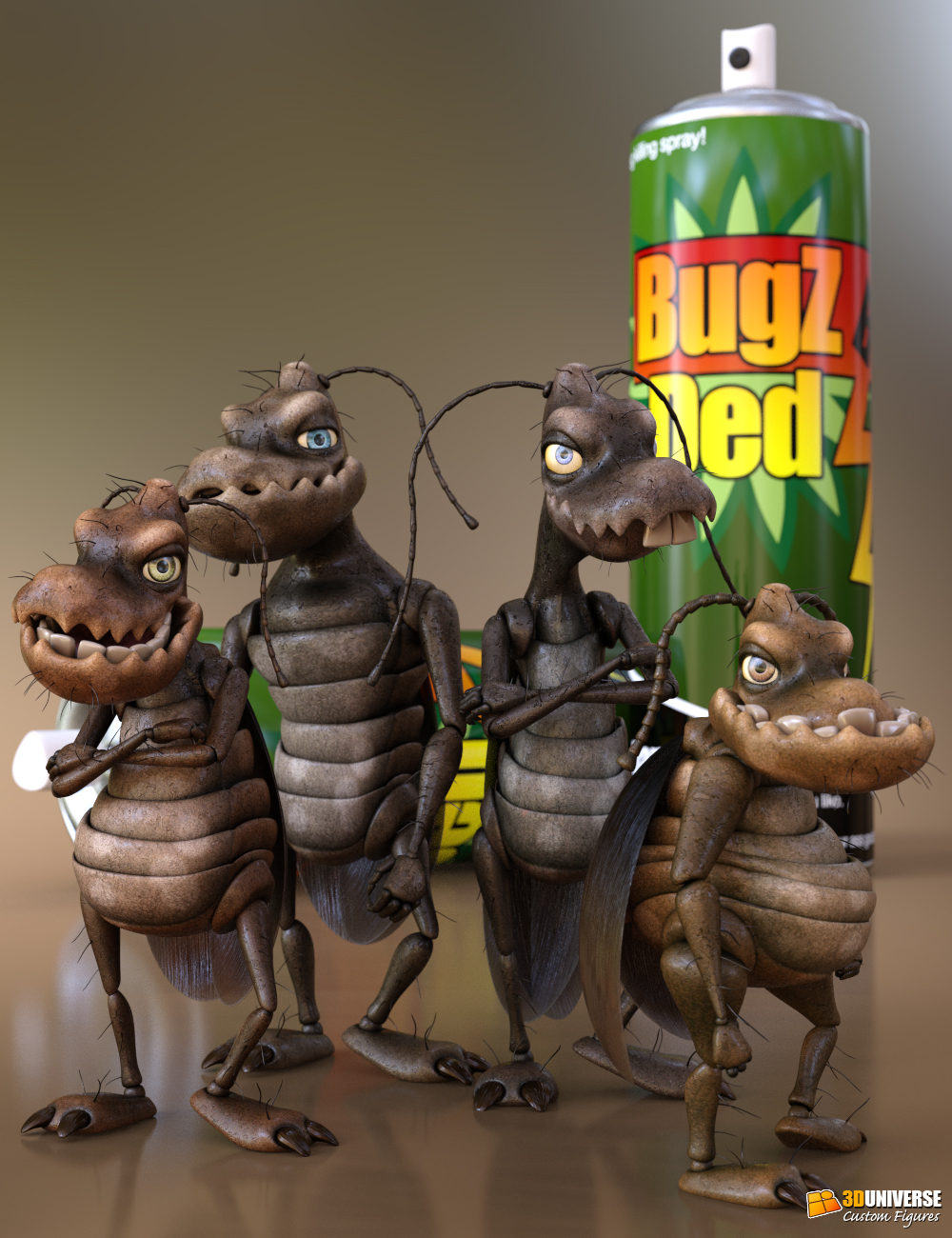 Toon Cockroach - Bugsy and the Gang by: 3D Universe, 3D Models by Daz 3D