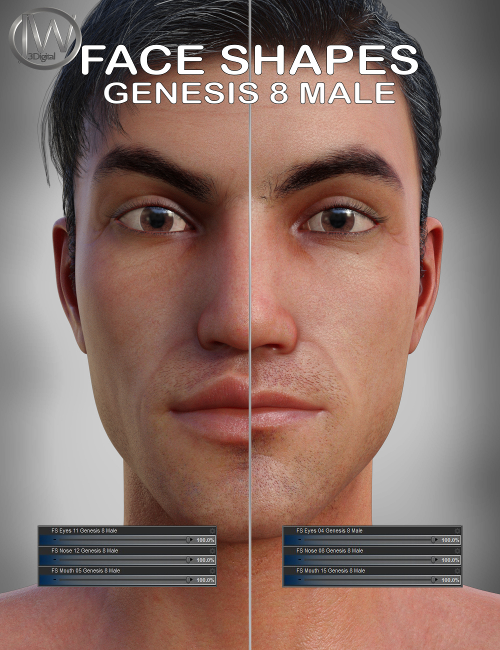 Face Shapes for Genesis 8 Male by: JWolf, 3D Models by Daz 3D