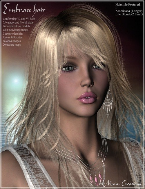 Embrace Hair Pak by: Magix 101, 3D Models by Daz 3D