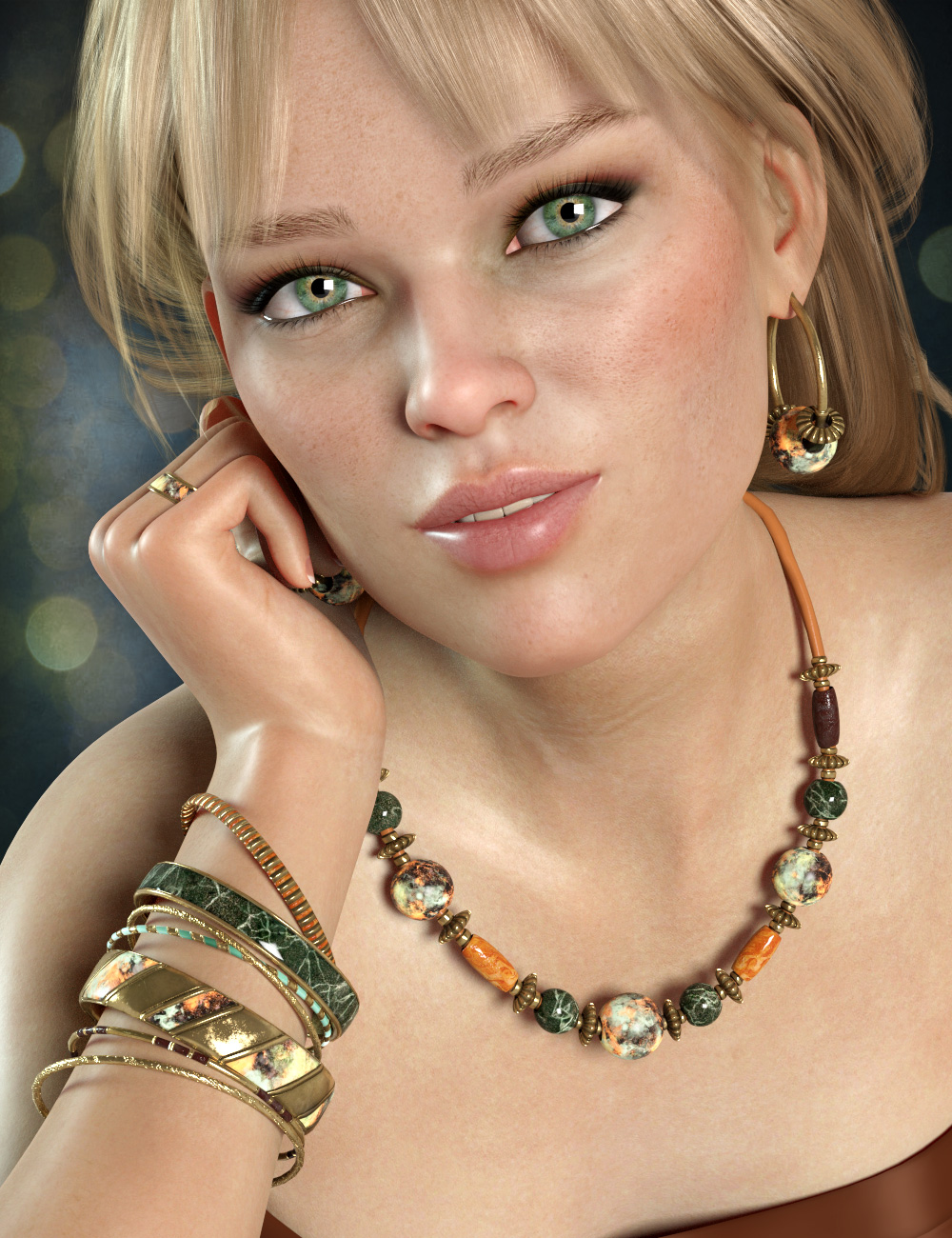 Colorful Jewelry for Genesis 8 Female(s) by: esha, 3D Models by Daz 3D