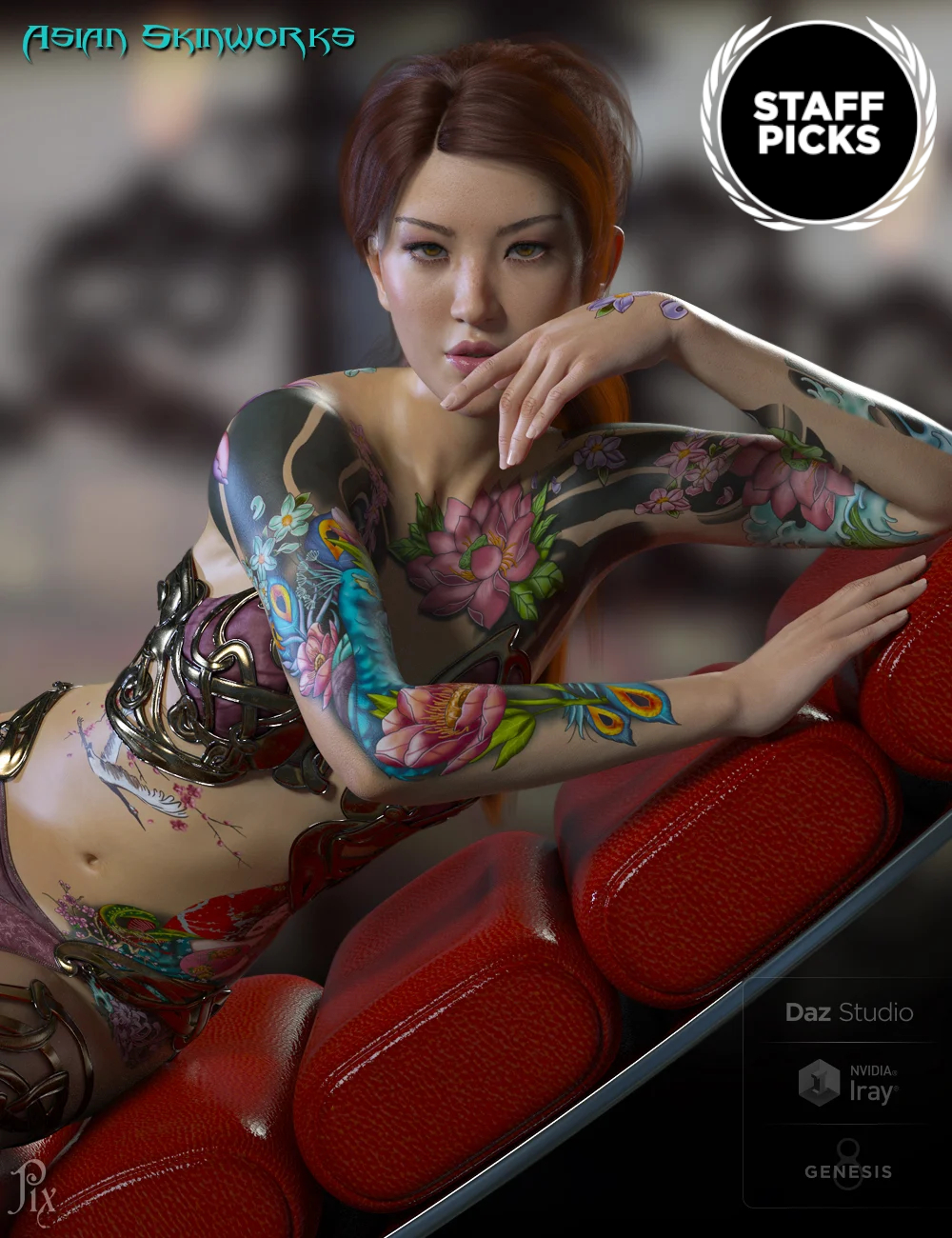 Asian SkinWorks L.I.E. Tattoos for Genesis 3 and 8 Female(s) by: Pixeluna, 3D Models by Daz 3D