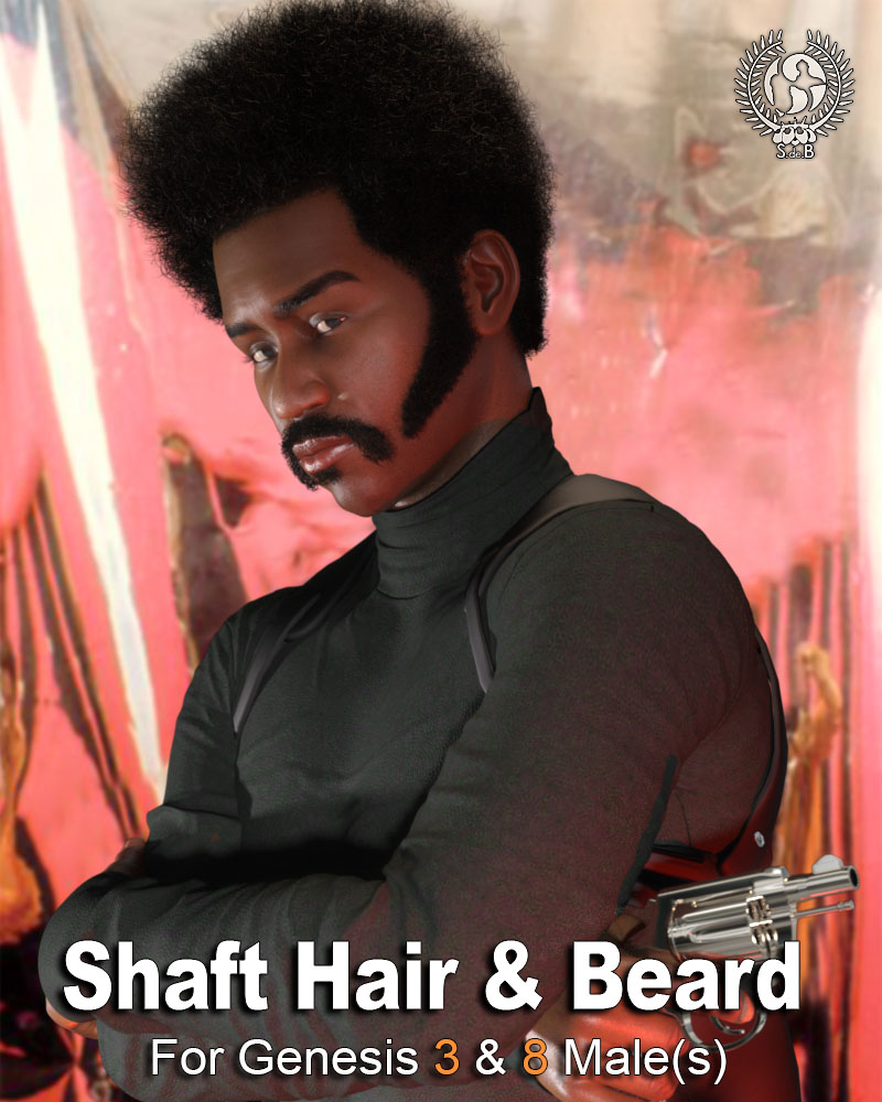 Shaft Hair and Beard Styles for Genesis 3 and 8 Male(s) by: SamSil, 3D Models by Daz 3D