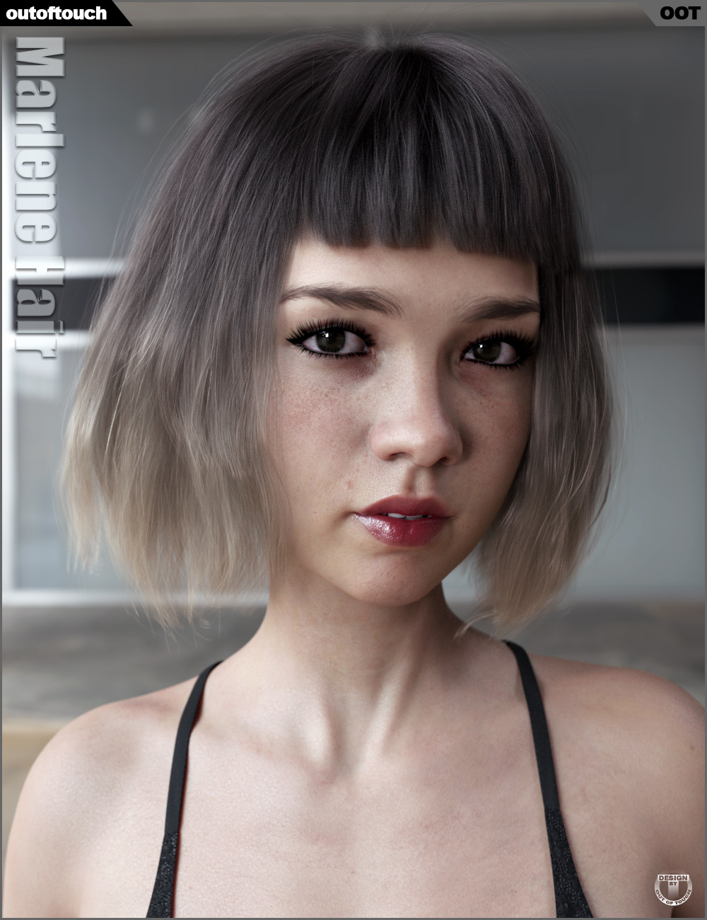 Marlene Bob Hair for Genesis 3 and 8 Female(s) by: outoftouch, 3D Models by Daz 3D