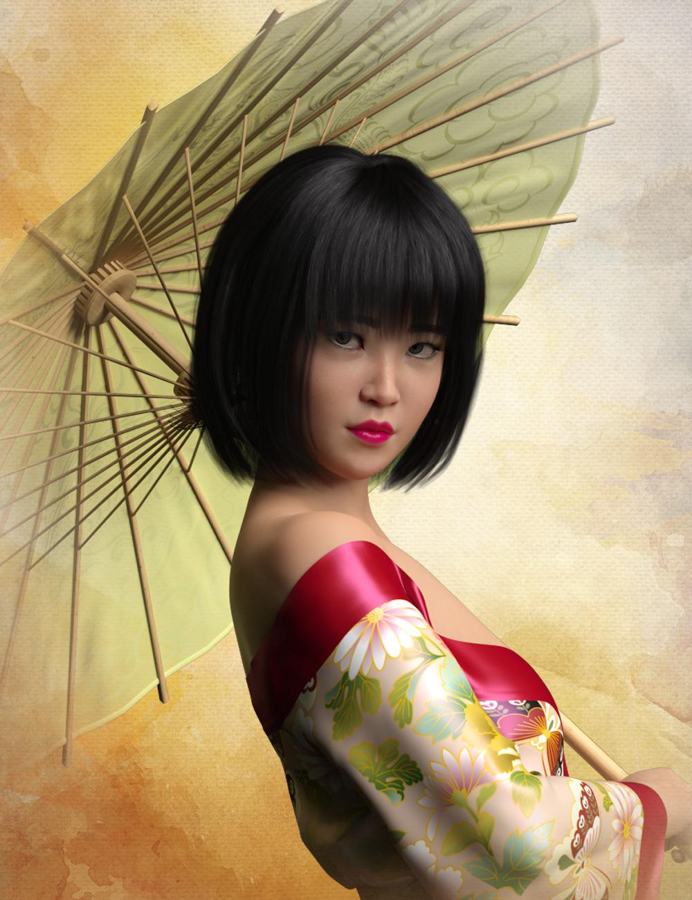 HP Zhi Ruo and Parasol for Mei Lin 8 by: SR3Fred Winkler Art, 3D Models by Daz 3D