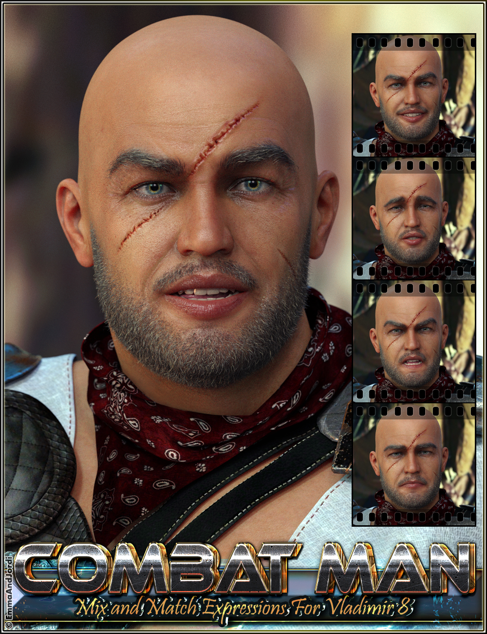 Combat Man Mix And Match Expressions For Vladimir 8 And Genesis 8 Male(s) by: EmmaAndJordi, 3D Models by Daz 3D