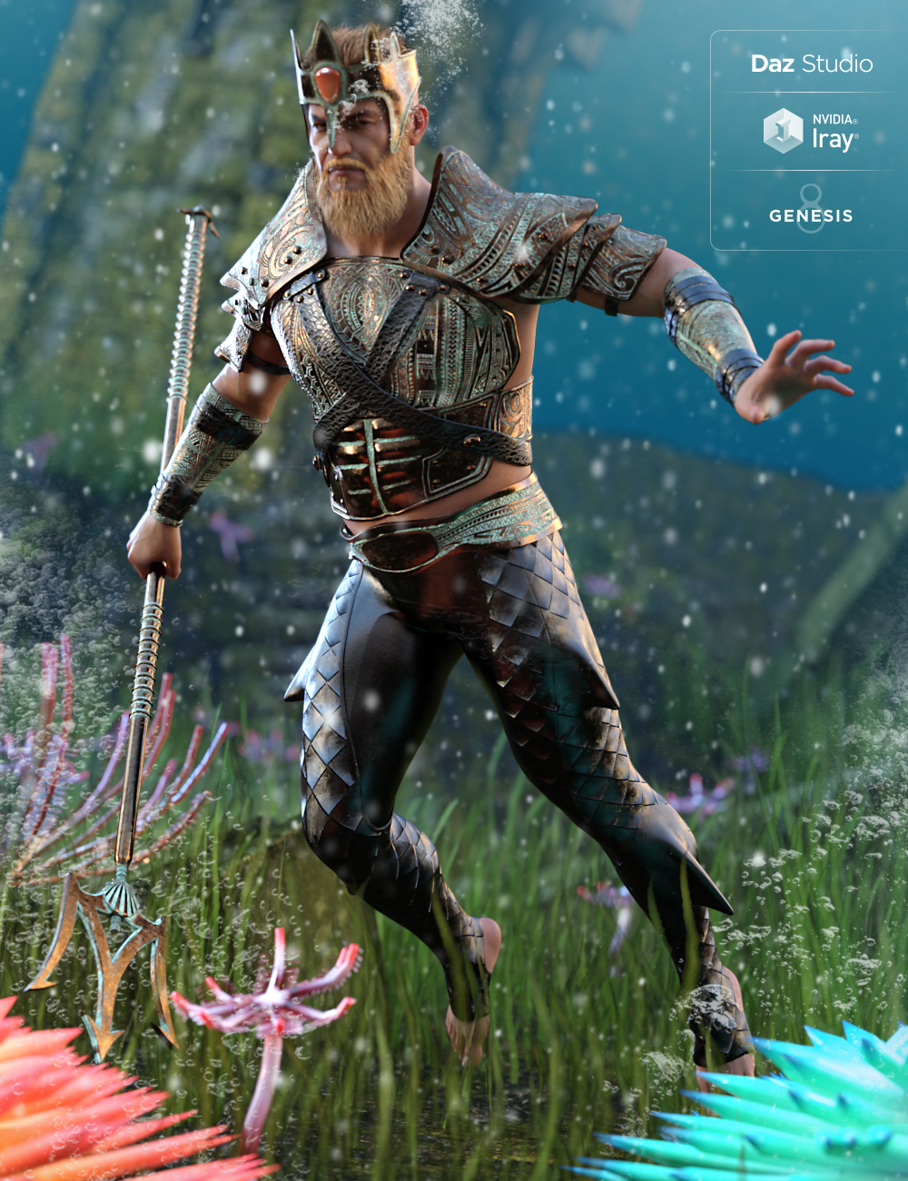 Poseidon Outfit for Genesis 8 Male(s) by: Barbara BrundonMoonscape GraphicsSadeUmblefugly, 3D Models by Daz 3D