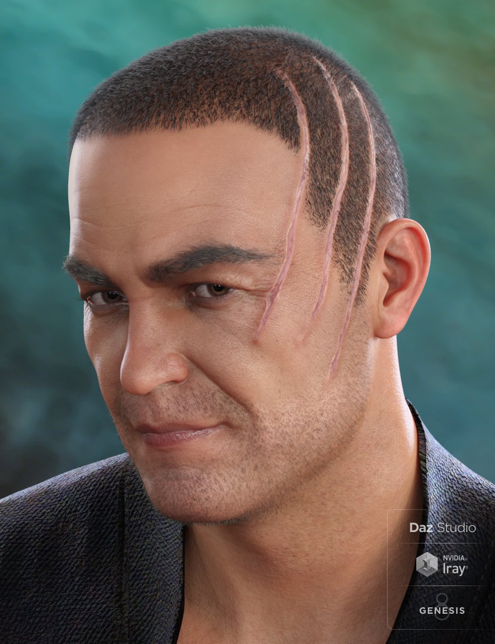 MRL Buzz Cut Hair, Stubble and Scars for Genesis 8 and Genesis 3 Male by: Mihrelle, 3D Models by Daz 3D