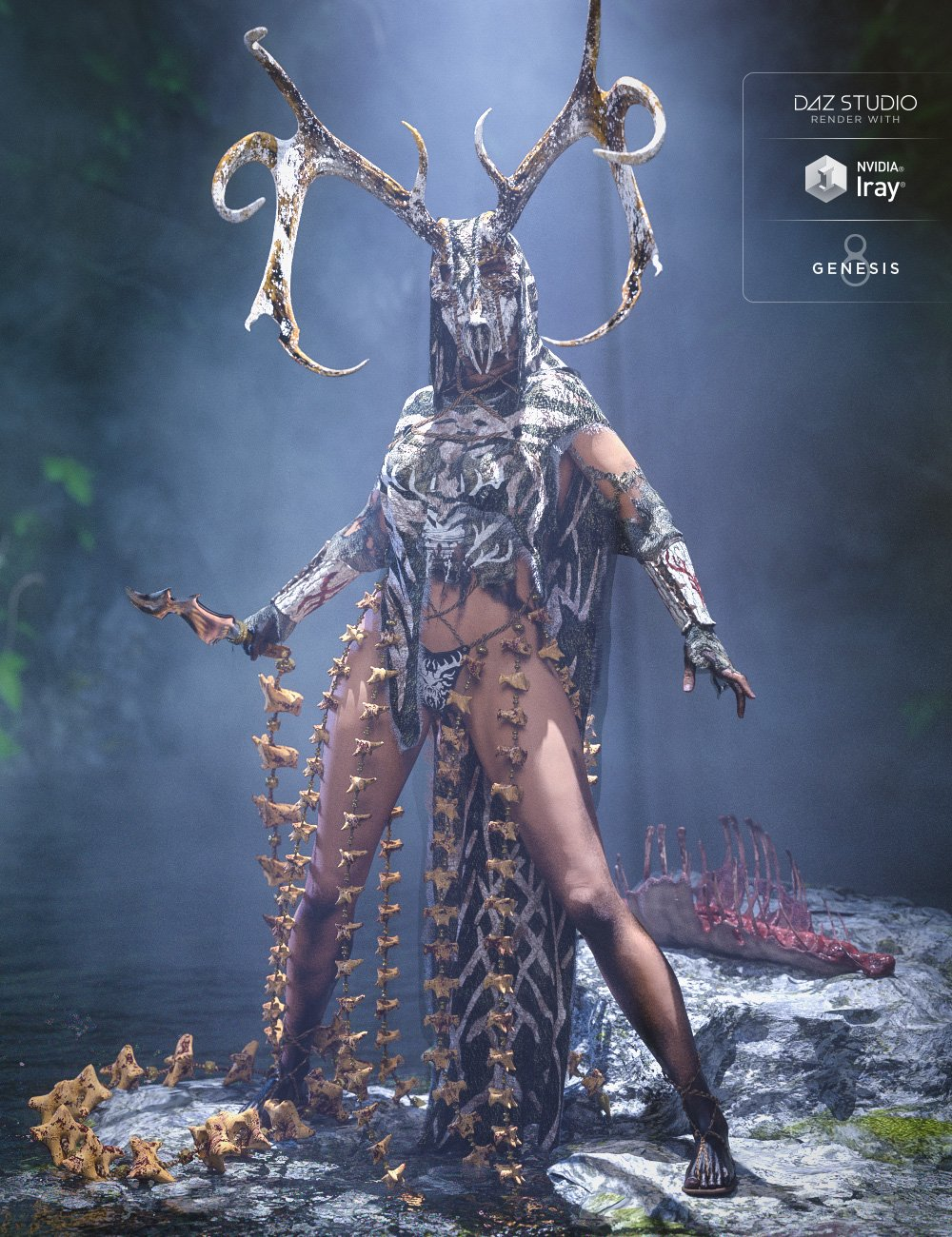 dforce Order of the Huntress: The Priestess by: Sixus1 Media, 3D Models by Daz 3D