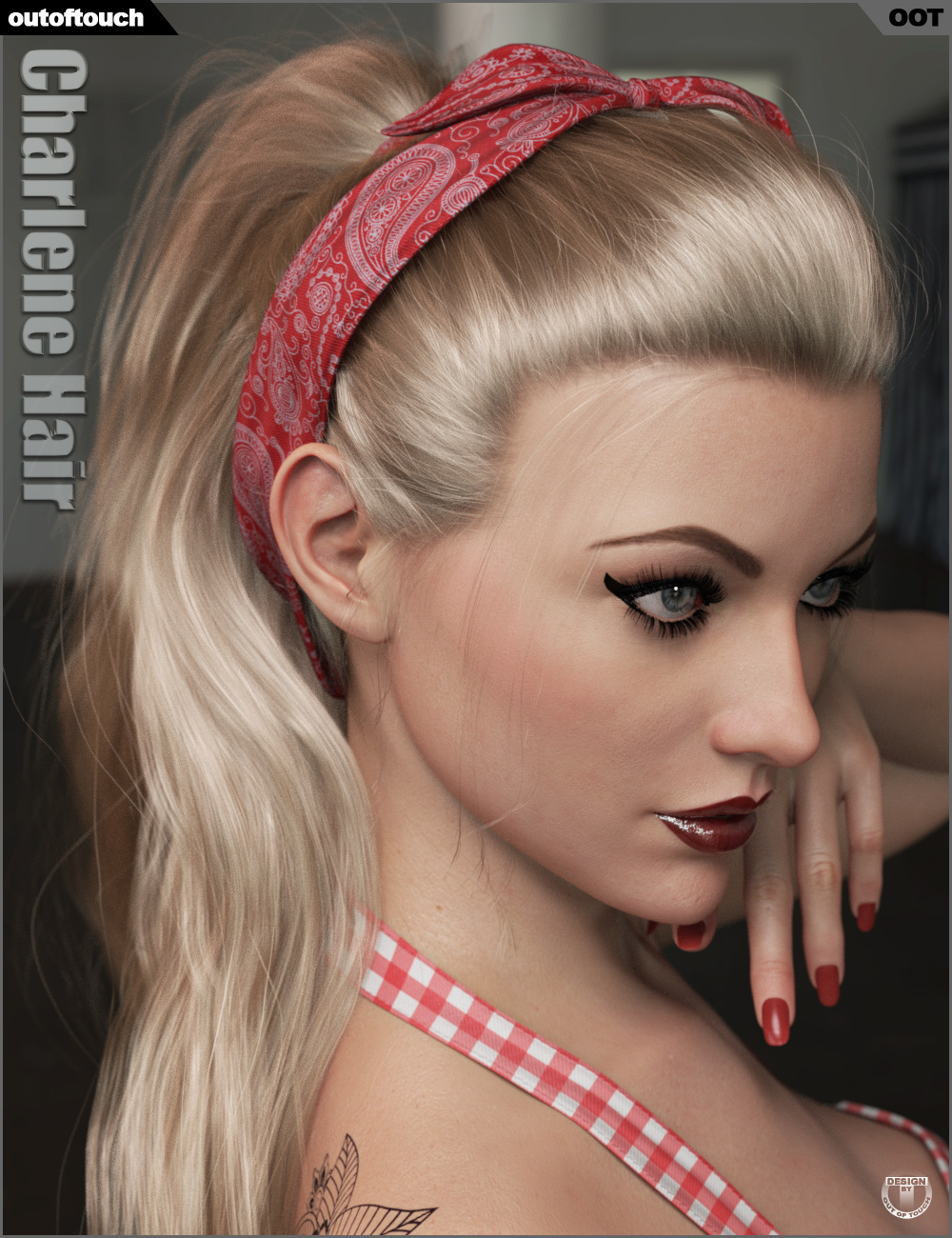 Charlene Hair for Genesis 3 and 8 Female(s) by: outoftouch, 3D Models by Daz 3D