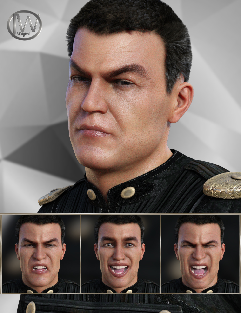 Warrior Expressions for Genesis 8 Male and Vladimir 8 by: JWolf, 3D Models by Daz 3D