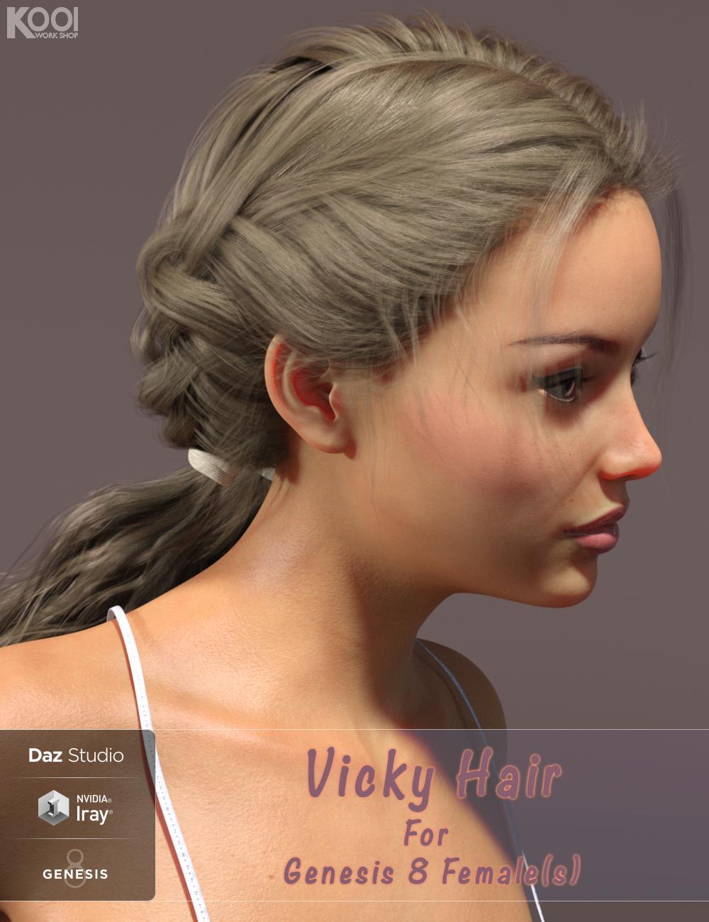 Vicky Hair for Genesis 8 Female(s) by: Kool, 3D Models by Daz 3D