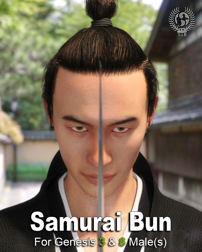 Samurai Bun For Genesis 3 And 8 Males by: SamSil, 3D Models by Daz 3D