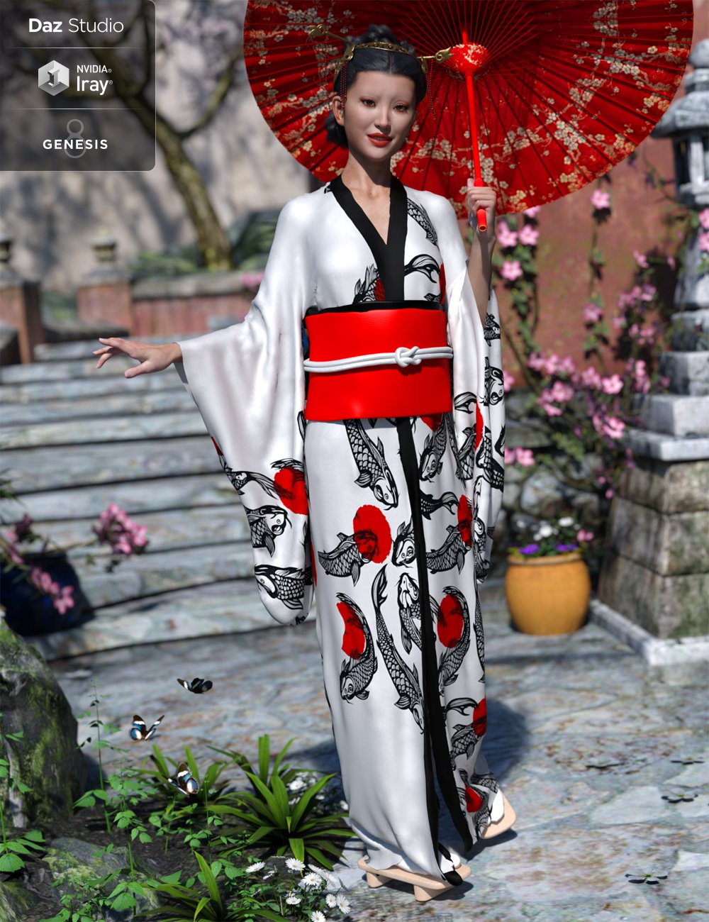 dForce Kimono Outfit for Genesis 8 Female(s) by: Lyrra MadrilMoonscape GraphicsSade, 3D Models by Daz 3D