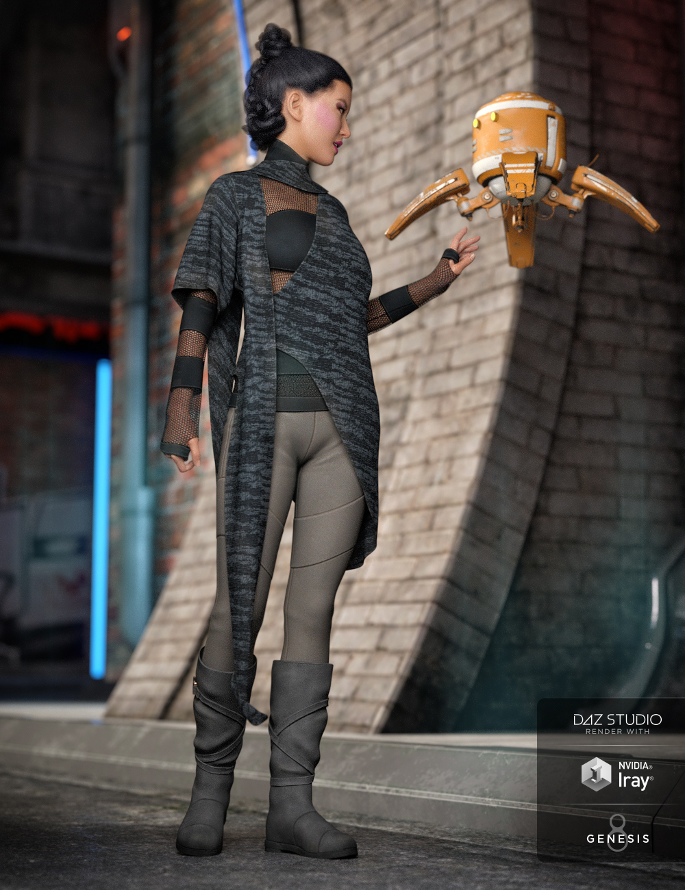 dForce Dystopian Future Outfit for Genesis 8 Female(s) by: ArienNikisatez, 3D Models by Daz 3D