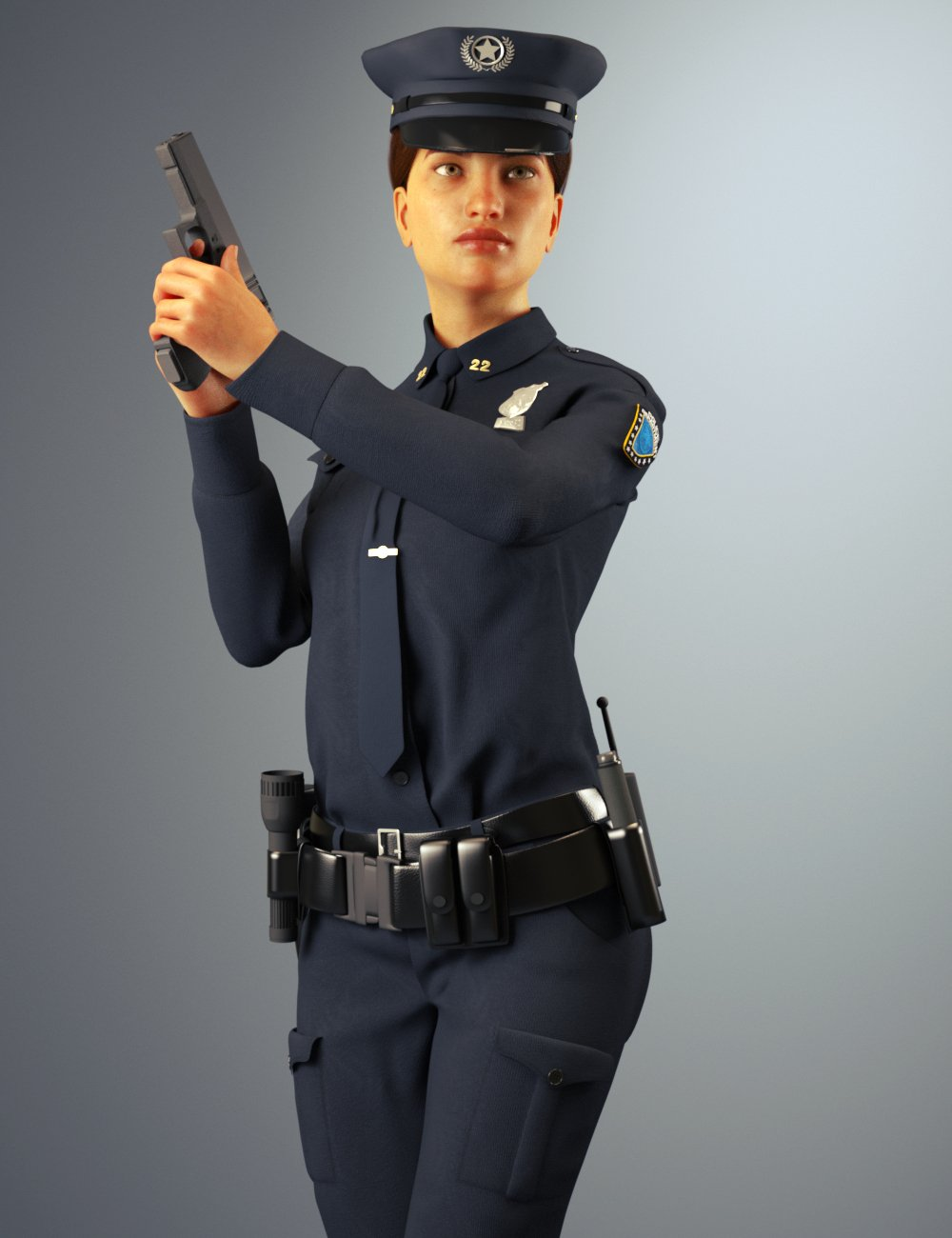 dForce Police Officer Outfit for Genesis 8 Female(s) by: Toyen, 3D Models by Daz 3D