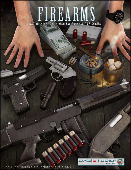 The Firearm Pack by: SarsaARTCollab, 3D Models by Daz 3D