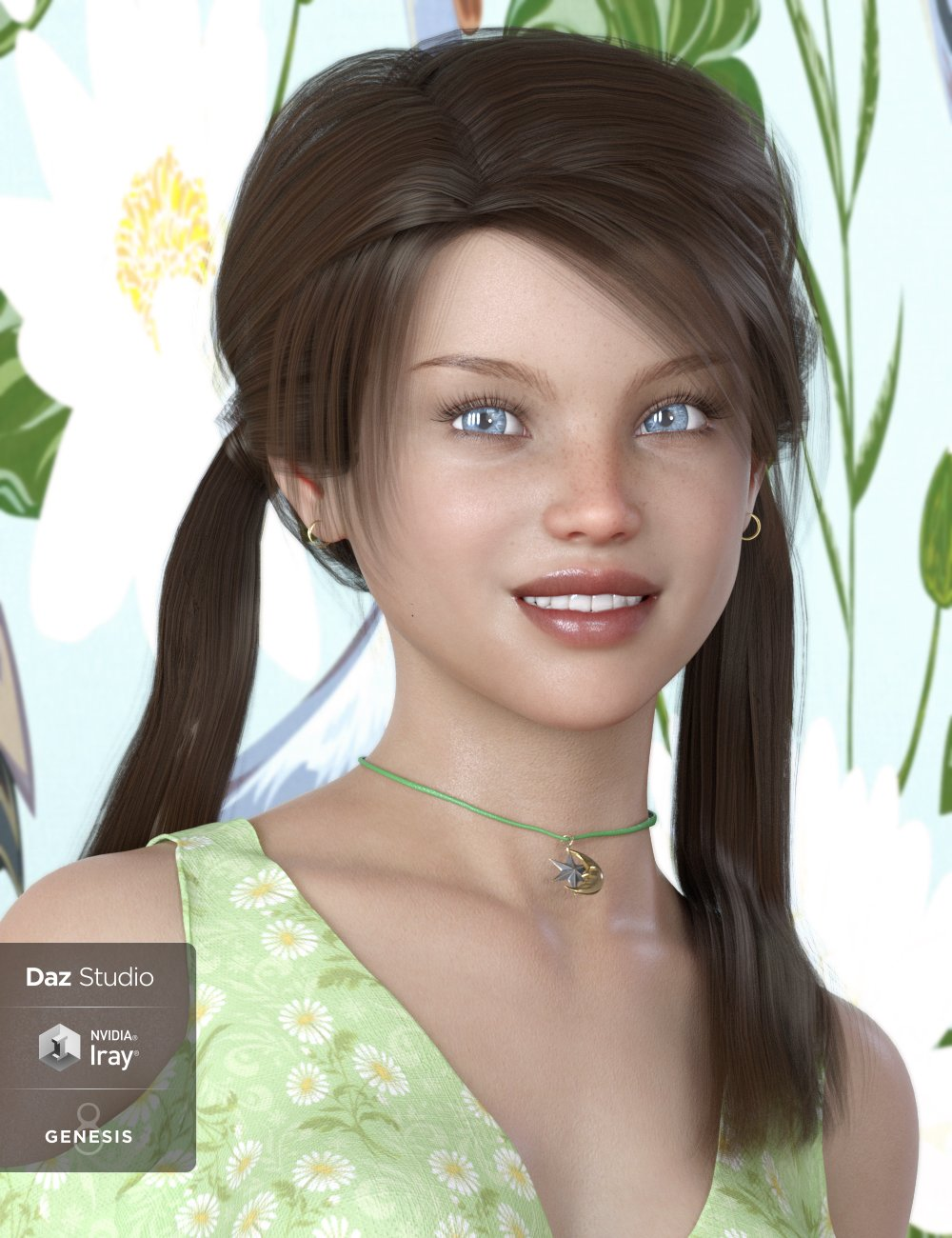 Melody Pigtail Hair for Genesis 3 and 8 Female(s) by: 3DCelebrity, 3D Models by Daz 3D