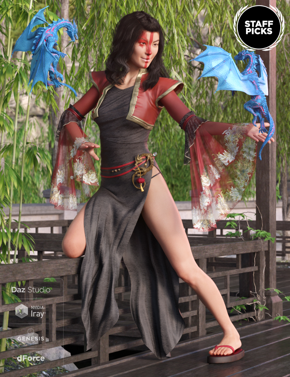 dForce Dragon Lady Outfit for Genesis 8 Female(s) by: Mada, 3D Models by Daz 3D