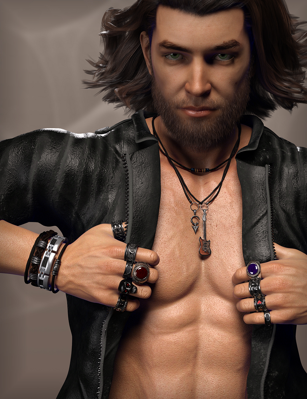 MD Rock Jewelry for Genesis 3 and 8 Male(s) by: MikeD, 3D Models by Daz 3D