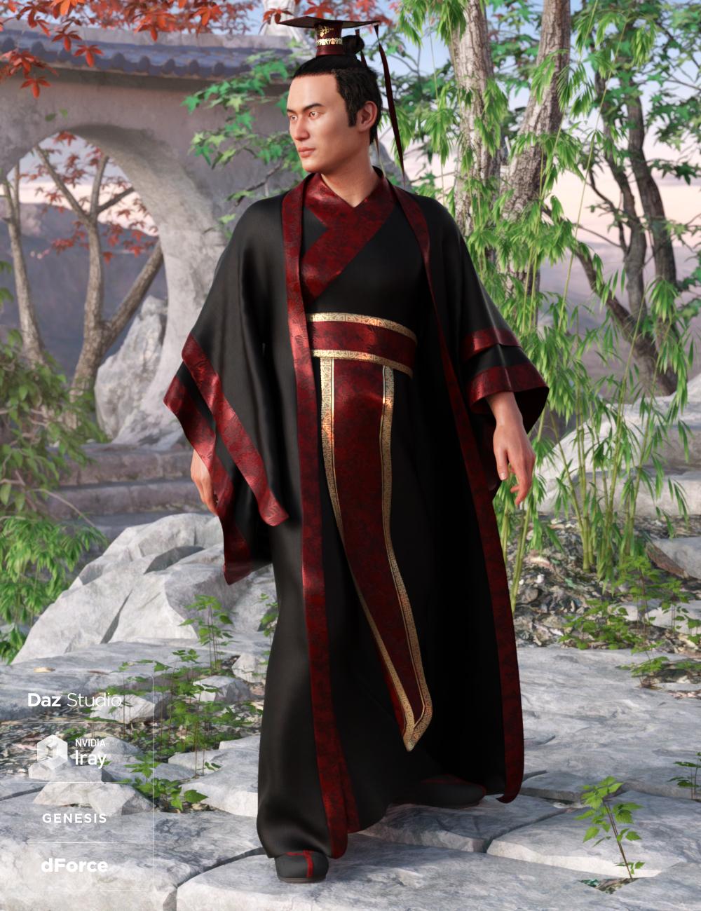 dForce Hanfu Outfit for Genesis 8 Male(s) by: Moonscape GraphicsNikisatezSade, 3D Models by Daz 3D