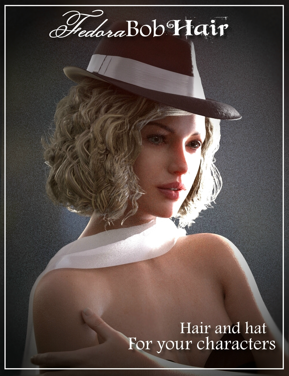 Fedora Bob Hair for Genesis 3 and 8 Female(s) by: Neftis3D, 3D Models by Daz 3D