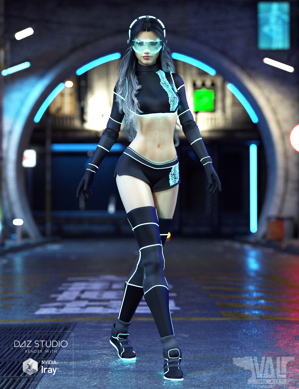 Zari SciFi Outfit for Genesis 8 Female(s) by: Val3dart, 3D Models by Daz 3D