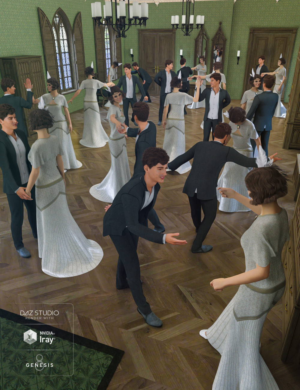 Rosemill Moor Country Dance Poses for Genesis 8 by: DianePredatron, 3D Models by Daz 3D