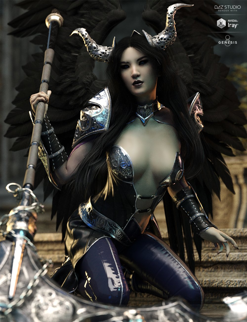 dForce Hellen Outfit and Weapons for Genesis 8 Female(s) by: HM, 3D Models by Daz 3D