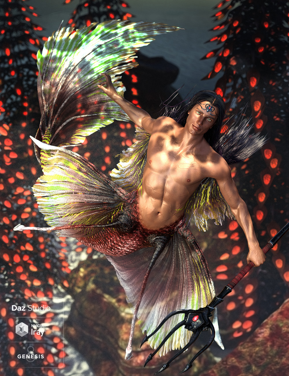 Alascanus Merman for Genesis 8 Male(s) plus Mertail and Fins by: ArkiDarwins Mishap(s), 3D Models by Daz 3D