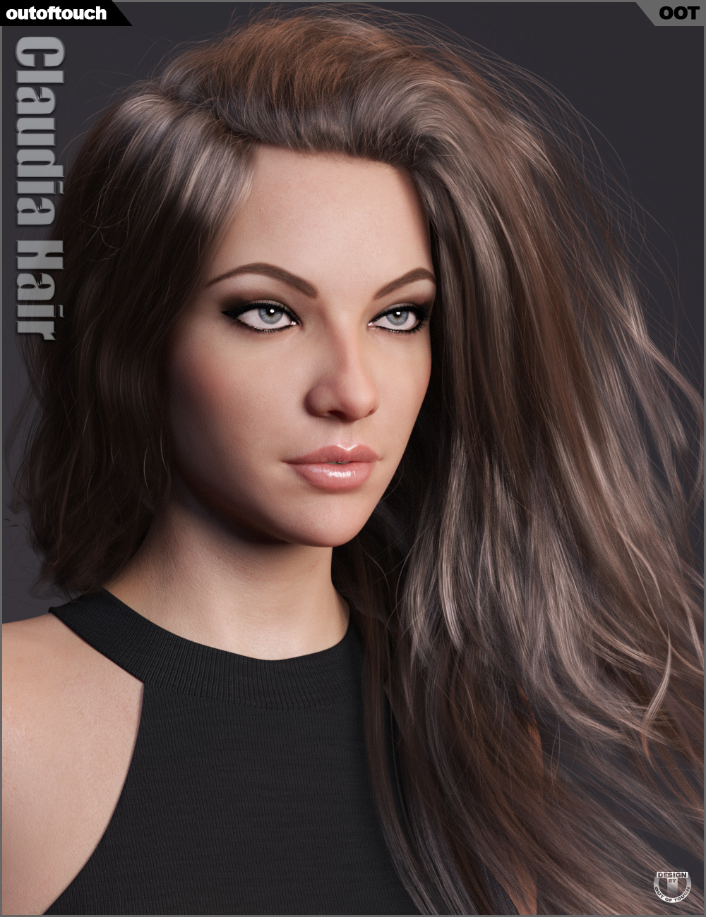 Claudia Hair for Genesis 3 and 8 Female(s) by: outoftouch, 3D Models by Daz 3D