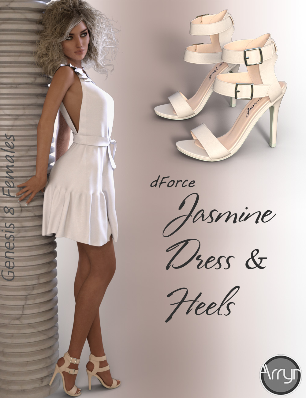 dForce Jasmine Outfit for Genesis 8 Female(s) by: OnnelArryn, 3D Models by Daz 3D