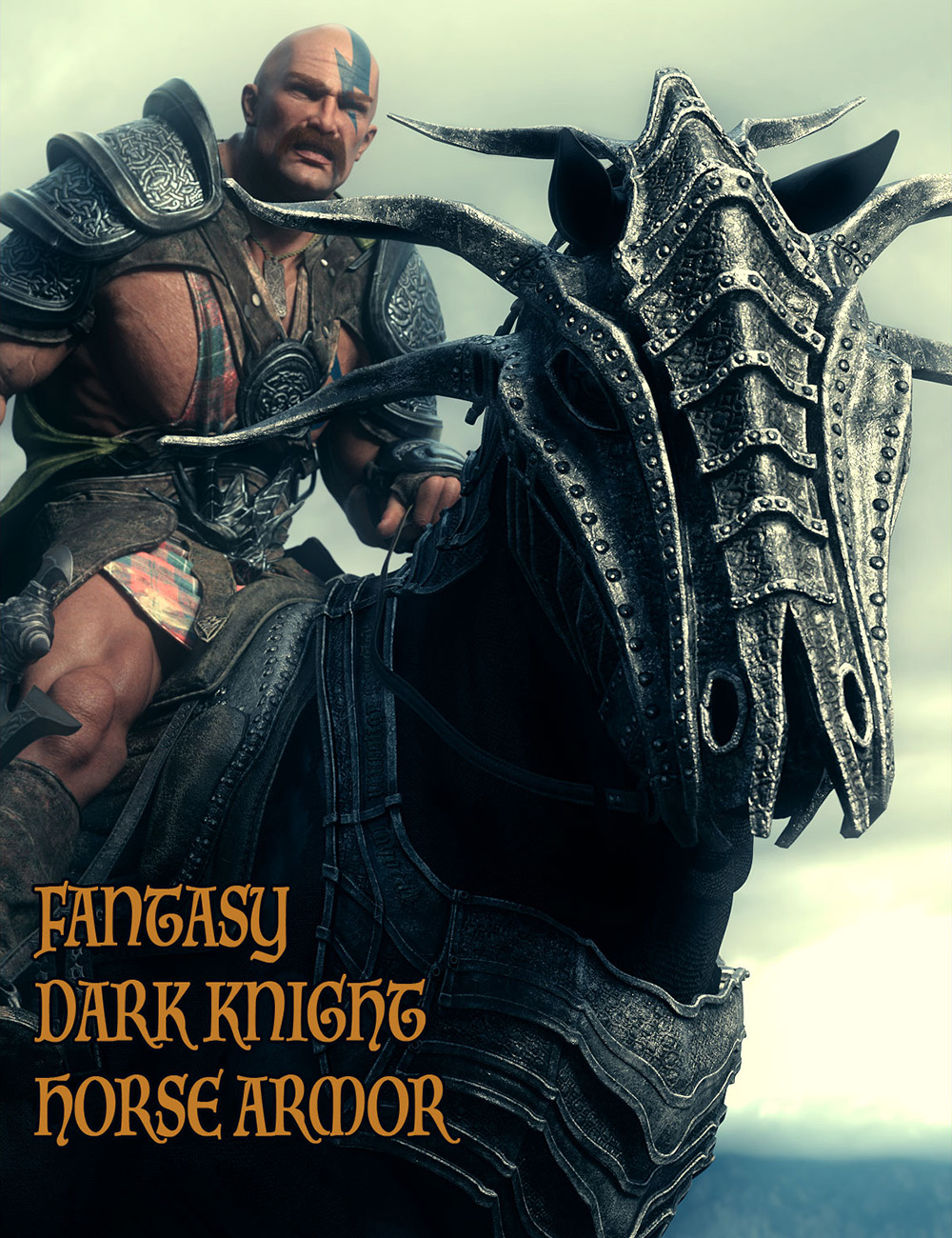 Fantasy Dark Knight Armor for DAZ Horse 2 by: Linday, 3D Models by Daz 3D