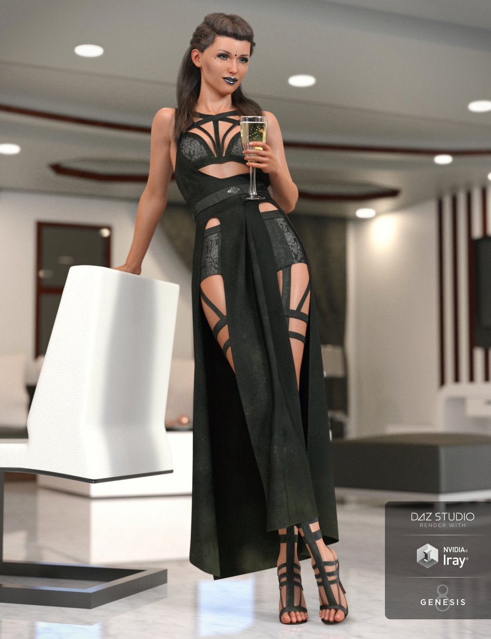 dForce Night Stalker Outfit for Genesis 8 Female(s) by: LuthbellinaNikisatez, 3D Models by Daz 3D