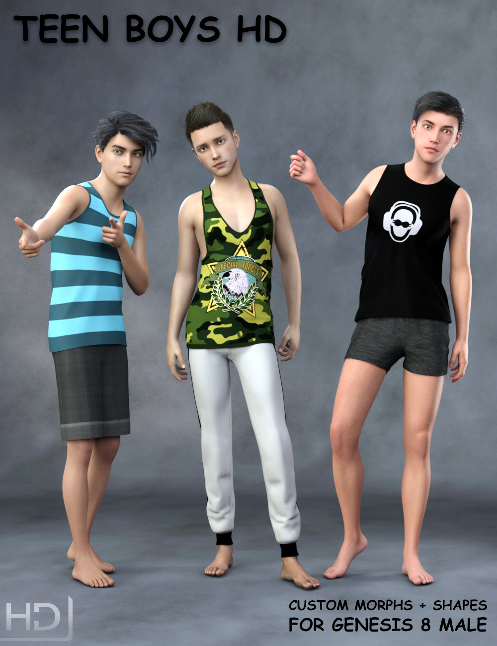 Teen Boys HD for Genesis 8 Male by: SF-Design, 3D Models by Daz 3D