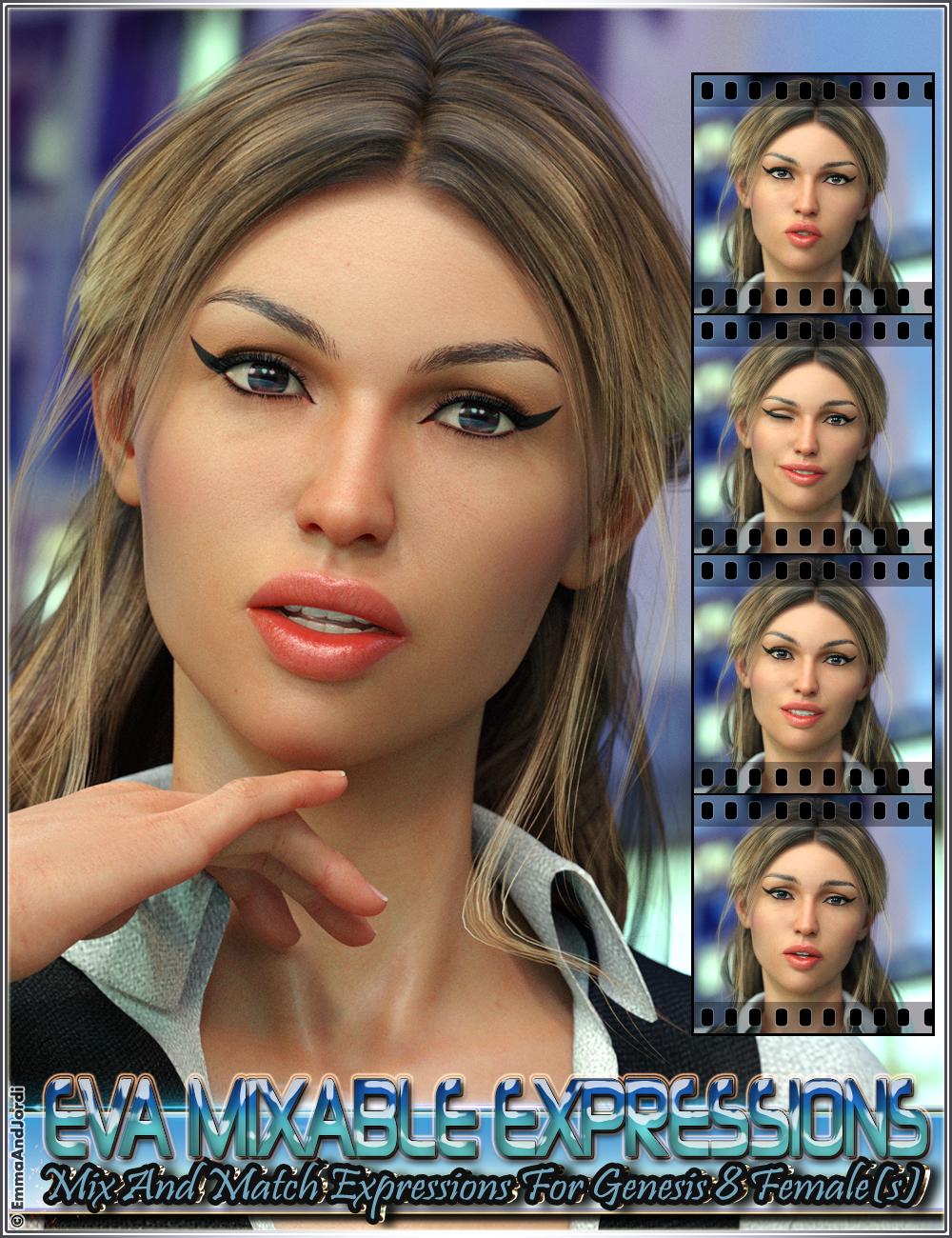 Eva Mixable Expressions for Genesis 8 Female(s) by: EmmaAndJordi, 3D Models by Daz 3D