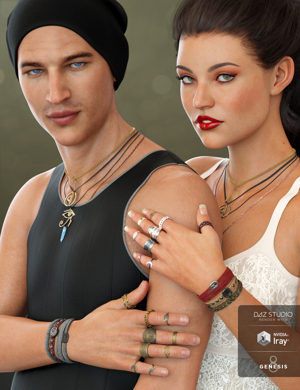Unisex Jewelry for Genesis 8 Male(s) & Female(s) by: Moonscape GraphicsNikisatezSade, 3D Models by Daz 3D