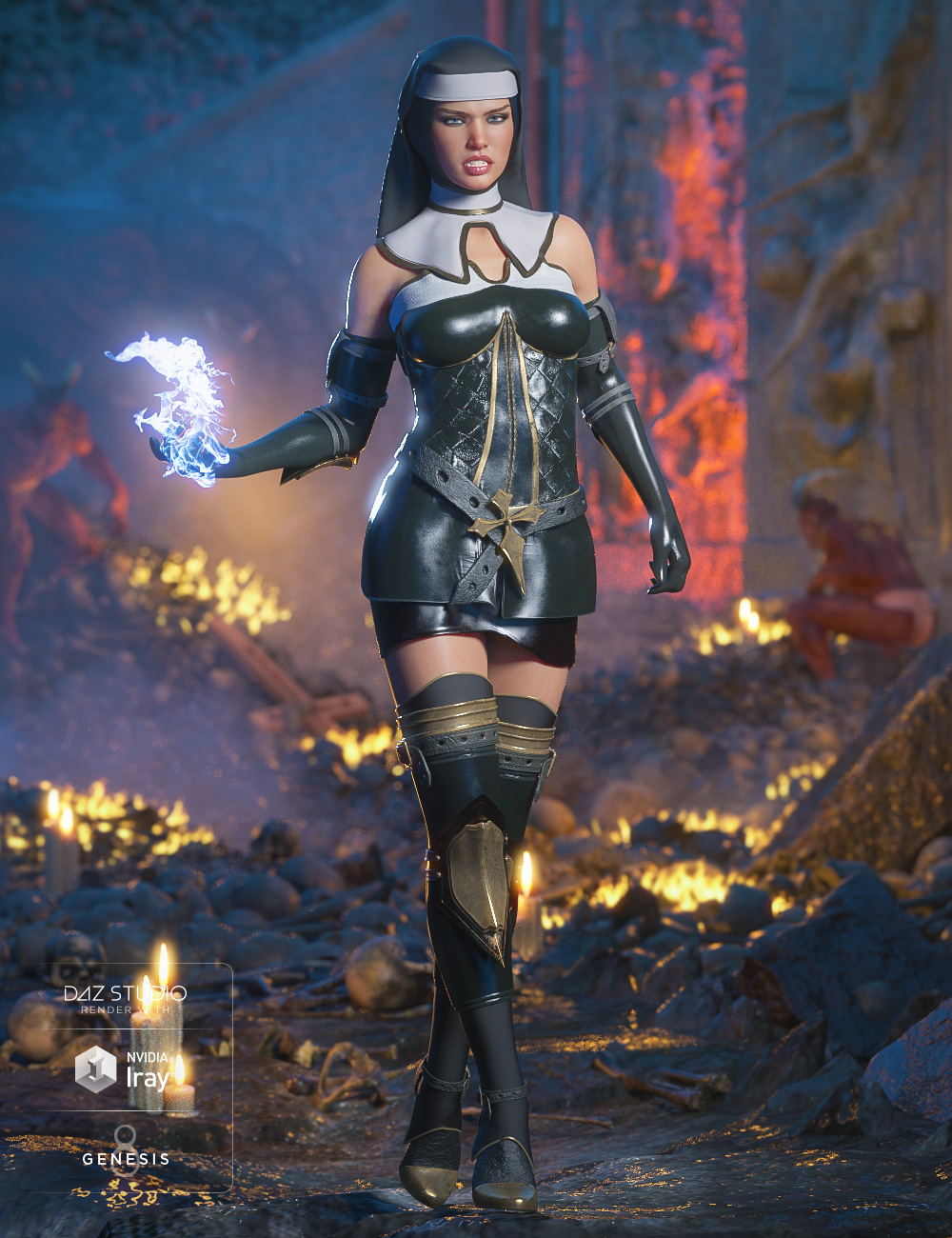 dForce Sister Mary Outfit for Genesis 8 Female(s) by: Barbara BrundonMoonscape GraphicsSadeUmblefugly, 3D Models by Daz 3D