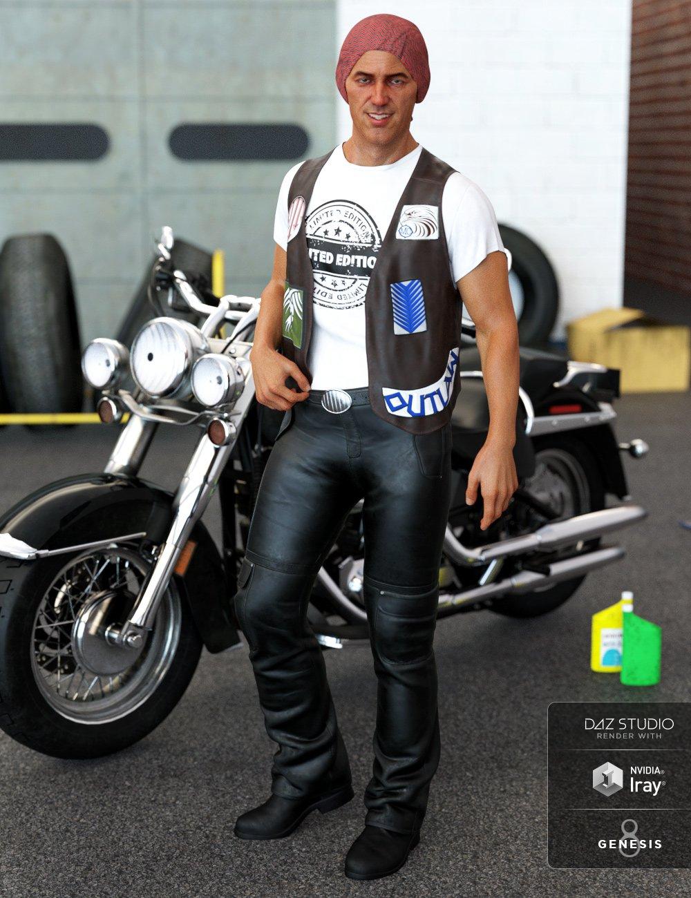 dForce Biker Outfit for Genesis 8 Male(s) by: Nikisatez, 3D Models by Daz 3D