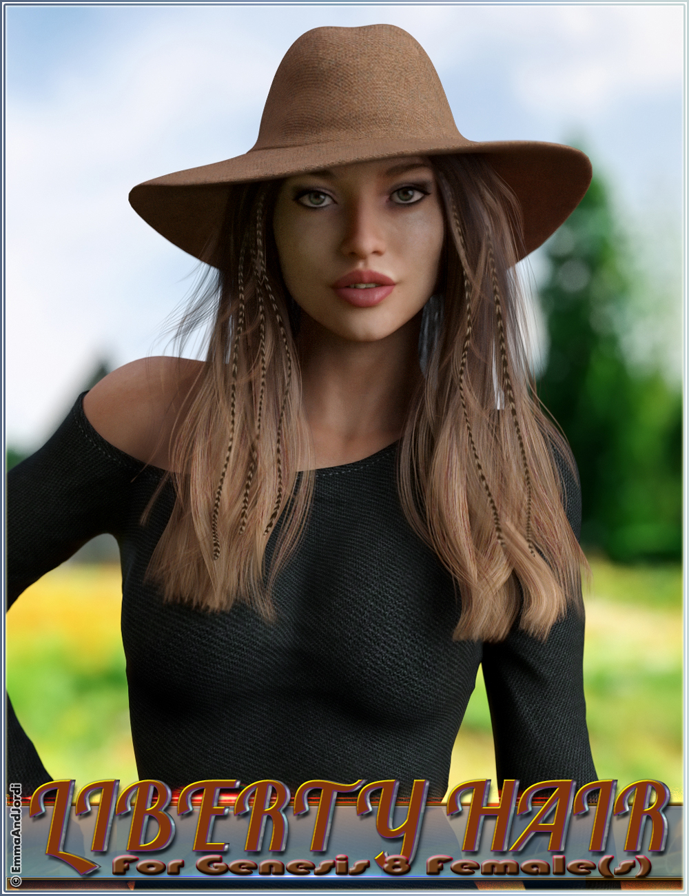 Liberty Hair For Genesis 8 Female(s) by: EmmaAndJordi, 3D Models by Daz 3D