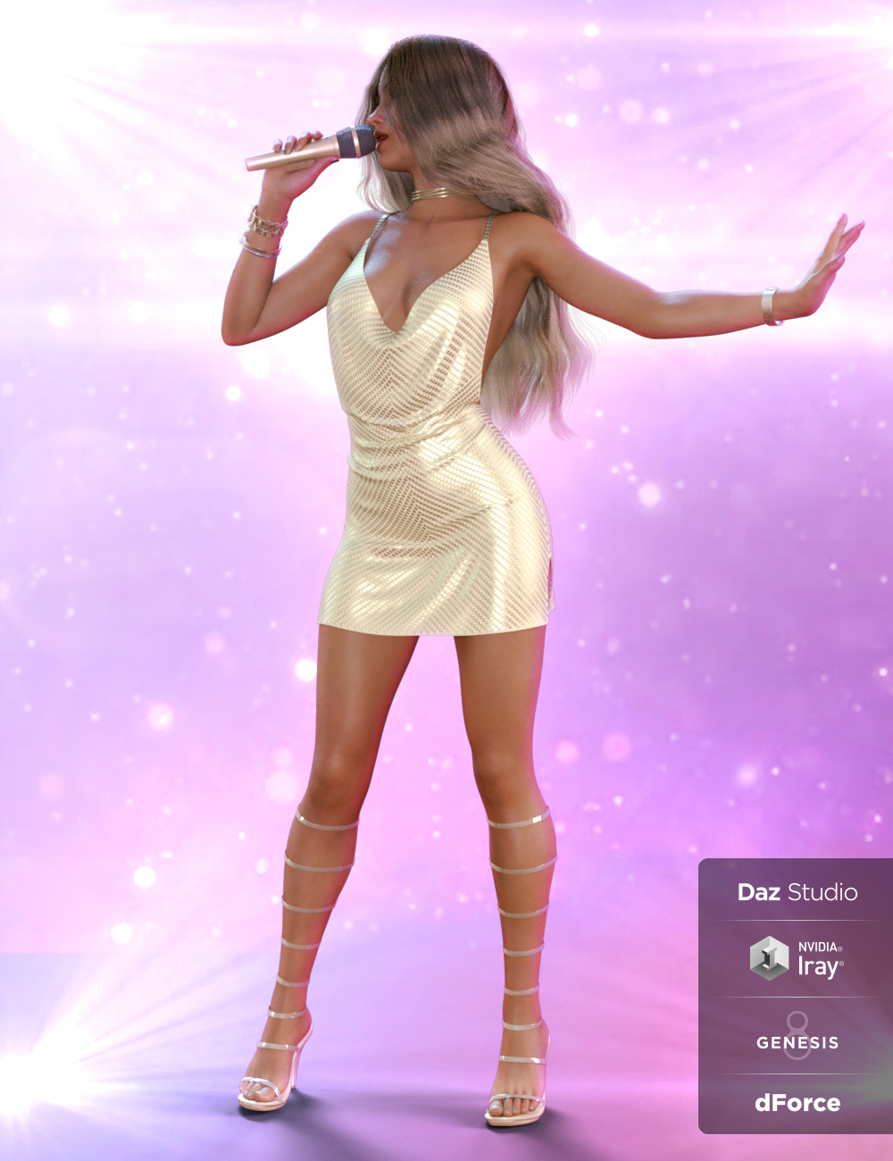 dForce On Stage Outfit and Poses for Genesis 8 Female(s) by: Blue Rabbit, 3D Models by Daz 3D