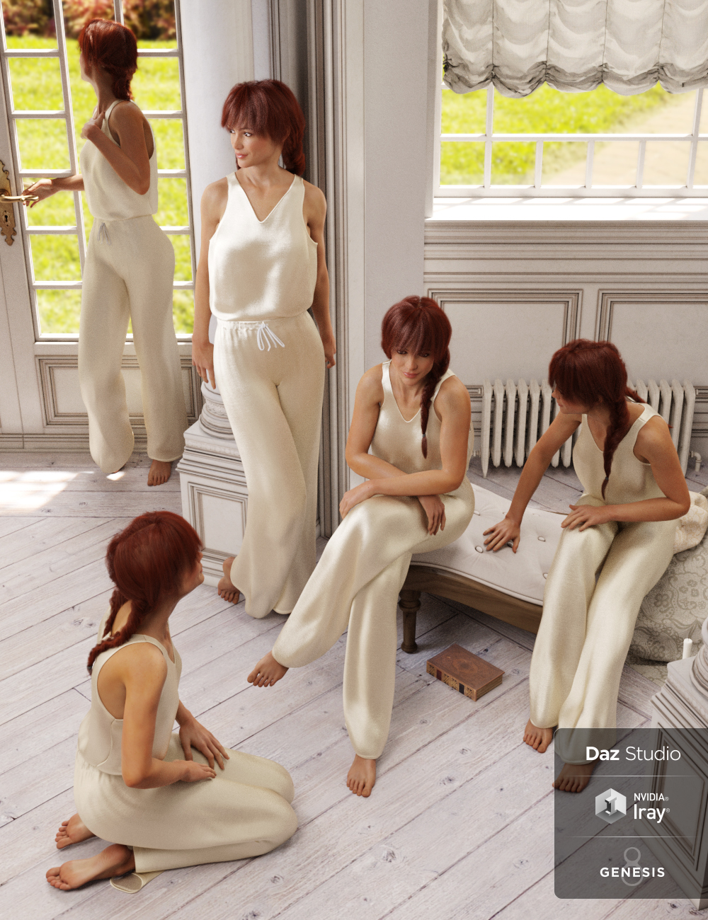 Rural Chateau III Retreat Poses Genesis 8 Female by: DianePredatron, 3D Models by Daz 3D