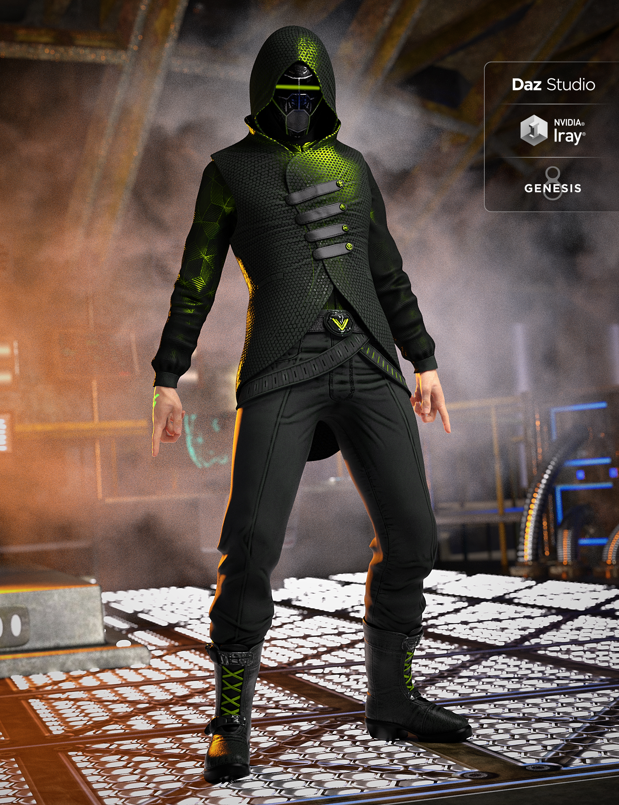 Sci-Fi Assassin Outfit for Genesis 8 Male(s) by: DemianYura, 3D Models by Daz 3D